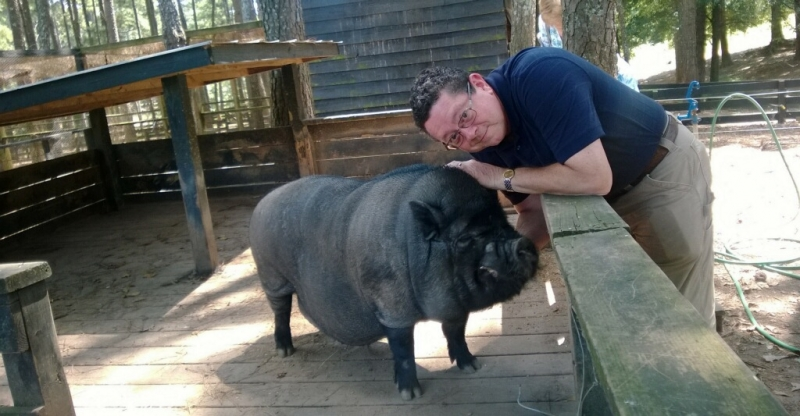 Dale with Potbelly Pig